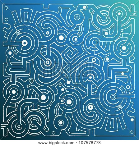 Mechanical Vector Maze On Blue Gradient Background