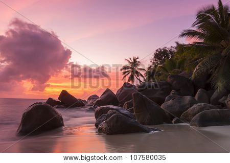 Sunset on tropical beach - Seychelles - nature background