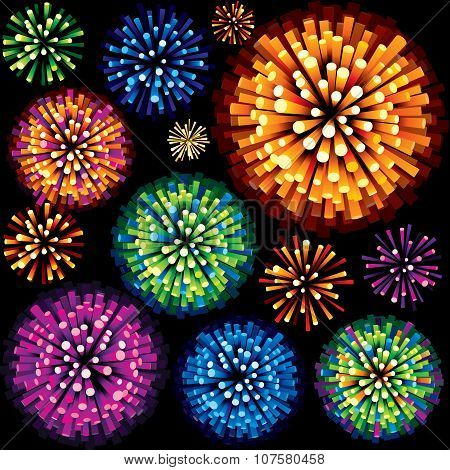 Fireworks and Explosion 3D Isolated Design Element