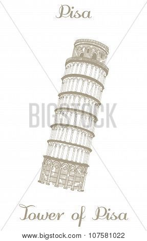 Vector Illustration - Leaning Tower Of Pisa
