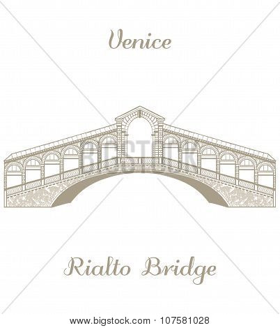 Vector Illustration Of The Rialto Bridge