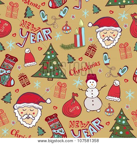 Christmas Vintage Pattern. New Year Whimsical Seamless Background For Wrapping Or Textile Decoration
