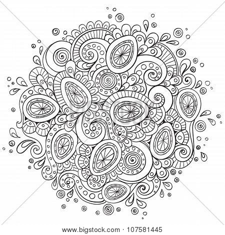 Ethnic doodle background pattern circle. Vector.