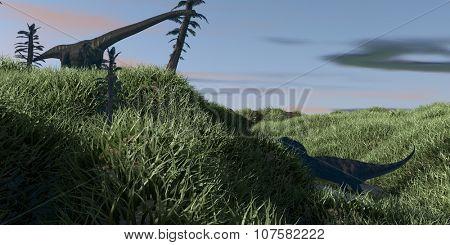 hunting majungasaurus