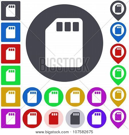 Color memory card icon set