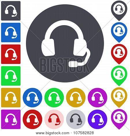 Color headphone icon set