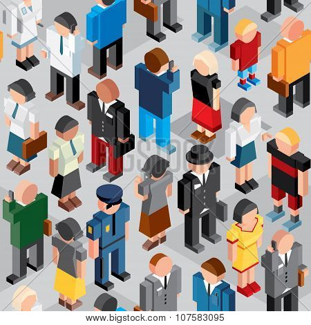 People Crowd. Seamless Vector Patten.
