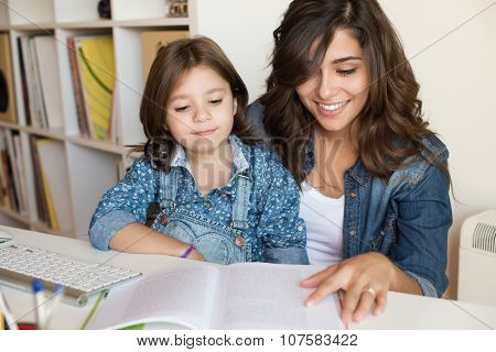 Mother Helping Child With Homework