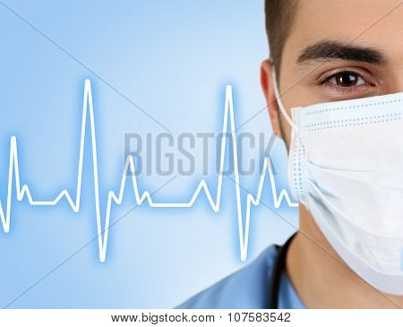 Healthcare and medicine concept. Young male doctor in medical mask