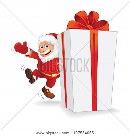 Santa with Christmas Gift. Vector Ready for Design