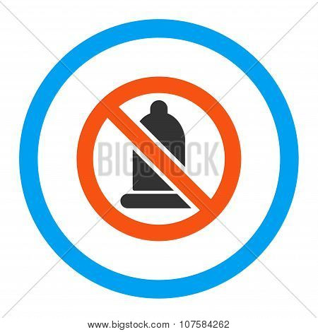 Forbidden Condom Rounded Vector Icon