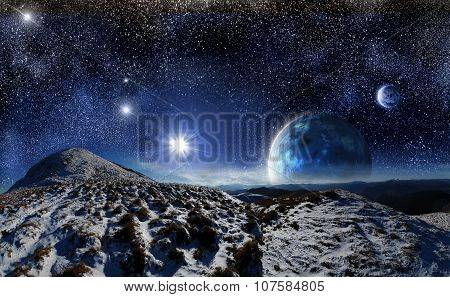 Night Landscape On A Space Background