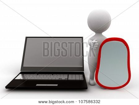 3D Man Proctecting Monitor - Laptop With A Shield Concept