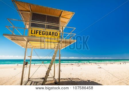 Lifeguard patrol tower on the Gold Coast, Queensland, Australia