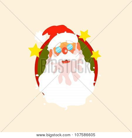 Santa Claus wearing Glasses. Vector Illustration