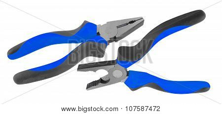 Blue pliers isolated on the white background
