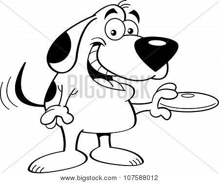 Cartoon dog holding a flying disk.