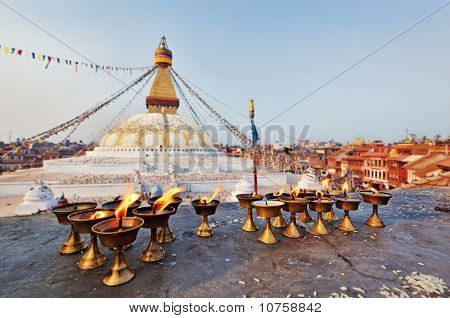 Many Sacred Candles In Front Of Boudha Nath (bodhnath) Stupa In Kathmandu, Nepal