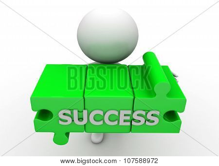 3D Man Holding Puzzle Presenting Success Text In It Concept