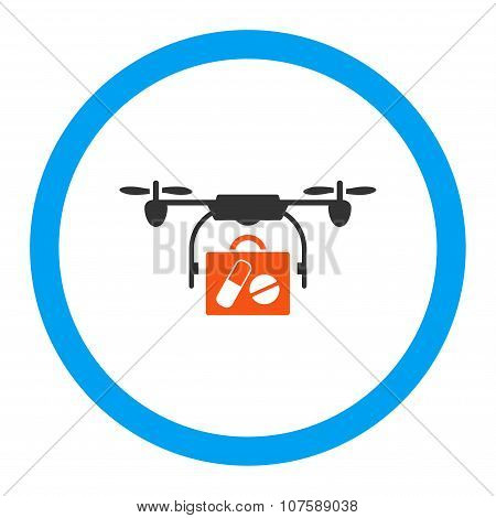 Medical Drone Shipment Rounded Vector Icon