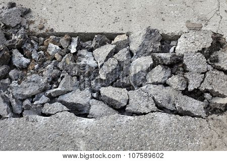 Asphalt Demolishing, Heap Of Broken Asphalt