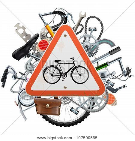 Vector Bicycle Spares Concept With Triangle Sign