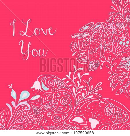 I Love you text on pink background with floral nature ornament with roses, flowers, bluebell, campan