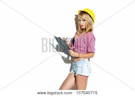 Concept for young sexy woman builder