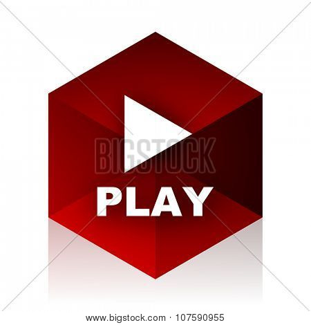 play red cube 3d modern design icon on white background