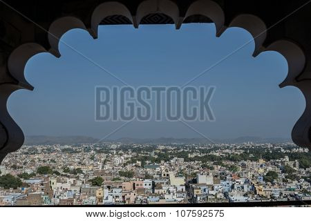 Jaipur city aerial view from fort