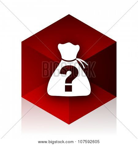 riddle red cube 3d modern design icon on white background