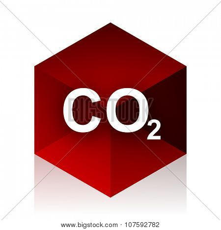 carbon dioxide red cube 3d modern design icon on white background
