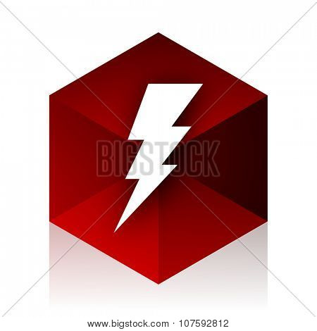 bolt red cube 3d modern design icon on white background