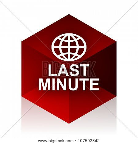 last minute red cube 3d modern design icon on white background