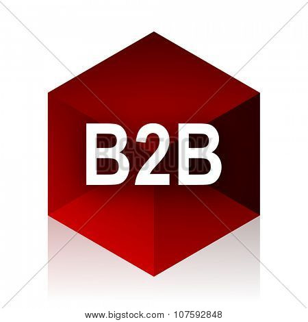 b2b red cube 3d modern design icon on white background