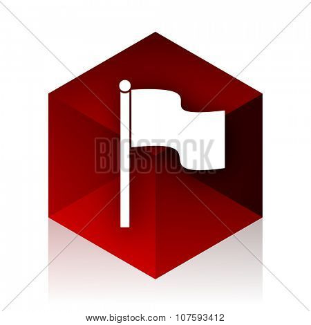 flag red cube 3d modern design icon on white background