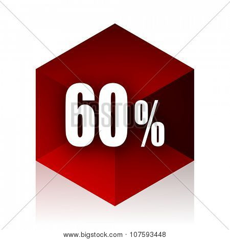 60 percent red cube 3d modern design icon on white background