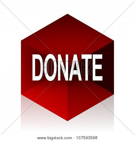 donate red cube 3d modern design icon on white background