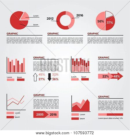 Set of Infographics Elements. Red Colors.