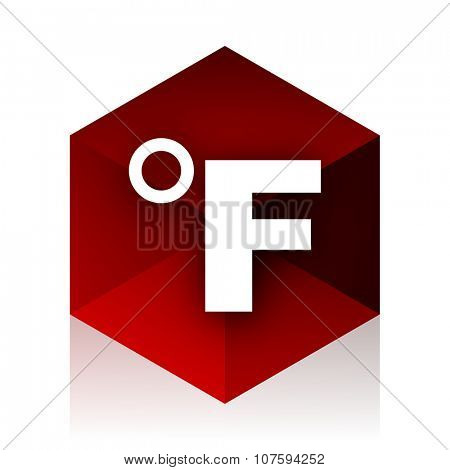 fahrenheit red cube 3d modern design icon on white background