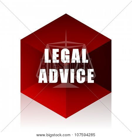 legal advice red cube 3d modern design icon on white background