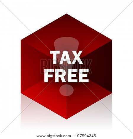 tax free red cube 3d modern design icon on white background