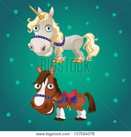 Cartoon image of the horse and the unicorn on a star green background