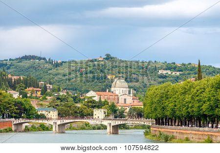 Verona. Bridge across the river Adige.