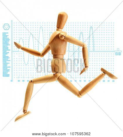 Healthcare and medicine concept. Wooden mannequin