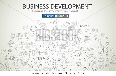 Business Development concept wih Doodle design style :finding solution, brainstorming, creative thinking. Modern style illustration for web banners, brochure and flyers.