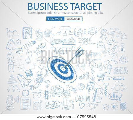 Business Target Concept with Doodle design style :finding solution, brainstorming, creative thinking. Modern style illustration for web banners, brochure and flyers.