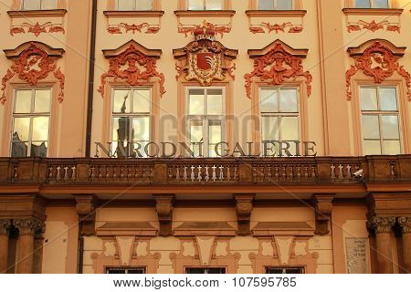 Ornate Facade Of The Golz-kinsky Palace (national Gallery) , Prague