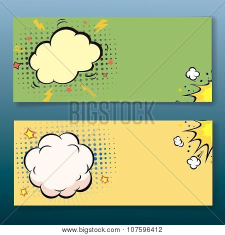 Comic book style explosion cloud banner set. Vector illustration