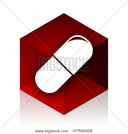 drugs red cube 3d modern design icon on white background